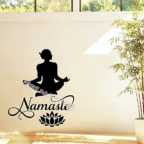 SSCLOCK Pegatinas de Pared en Forma de Loto Yoga Namaste Palabras Decorativas Gimnasia Arte Papel Tapiz Estudio de meditación 42x48cm