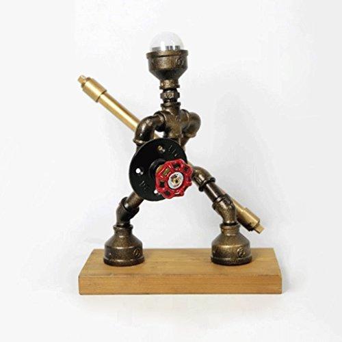 LOFAMI Retro Industrial Style Water Pipe Lampe de table, Warrior Fighting, Vintage E27, Living Room Bar Bureau Décoration Lampe de table (Color : Warm light-C)