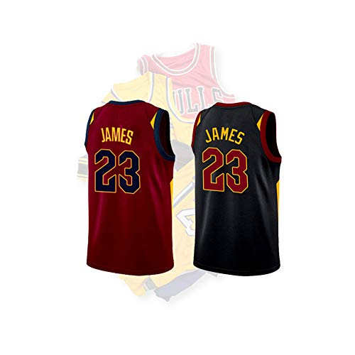 XIAOL Jerseys Lebron James # 23 Herren Basketball Trikot - NBA Cleveland Cavaliers, Herren Mesh Basketball Swingman Trikot Ärmelloses Sportwesten Top Basketball Trikot,Black-L