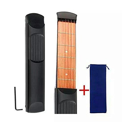 Tragbare Holz-Taschengitarre – 6 Bünde, tragbares Gitarren-Übungswerkzeug, Gadget für Anfänger, Akkordel-Trainer, Griffweise mit praktischer Tasche HCZ15
