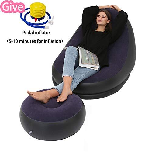 YX Silla hinchable con otomana, sillón hinchable, sofá de aire, sofá hinchable, color morado
