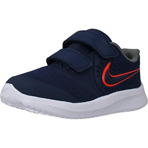 Nike Star Runner 2 (TDV), Zapatilla de Correr Unisex bebé, Medianoche Navy/Bright Crimson/Smoke Grey, 22 EU