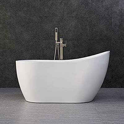 "Woodbridge Acrylic Freestanding Contemporary Soaking Tub with Brushed Nickel Overflow and Drain, B-0006 / BTA1507, 54"" Bathtub White"