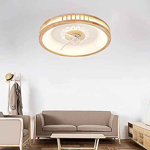 Ventilador de techo de madera con luz y control remoto silencioso 3 velocidades Dormitorio regulable DIRIGIÓ Luz del techo del ventilador con la sala de estar del temporizador Luces de ventilador de t