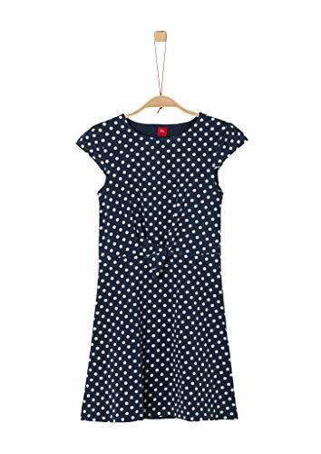 s.Oliver Mädchen Jerseykleid mit Knoten-Detail dark blue polka dots 158.REG