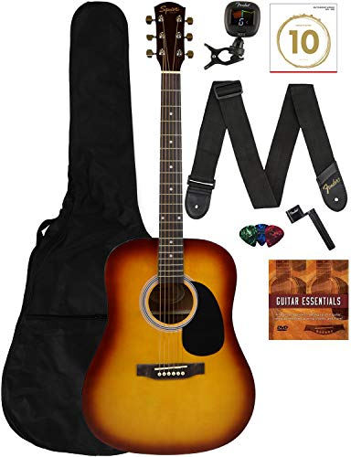 Fender Squier Dreadnought Acoustic Guitar - Sunburst Learn-to-Play Bundle with Gig Bag, Tuner, Strap, Strings, Picks, String Winder, Fender Play, and Austin Bazaar Instructional DVD
