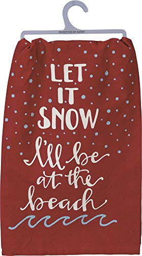 Primitives by Kathy Beach Holiday Dish Towel, Let It Snow