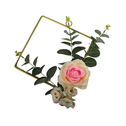 Demarkt Decoración colgante de metal con flores artificiales, anillo de metal, corona de pared para cumpleaños, boda, fiesta, color rosa cuadrado