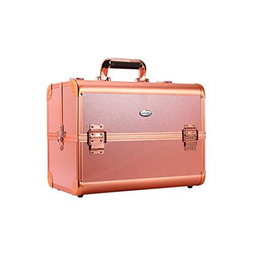 Boîte à Bijoux Sac Cosmétique Multi-Fonction Multifonctionnel en Aluminium à Double boîtier cosmétique en Aluminium pour boîte de Rangement Portable pour boîte de Rangement Orange