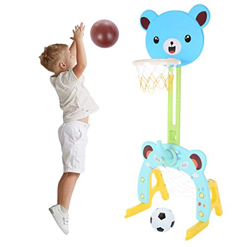 YUT 【US Fast Shipment】 3 in 1 Adjustable Toddler Basketball Hoop Stand Set, Indoor Outdoor Children Sports Activity Center, with Basketball/Ring Toss/Soccer/Goal, Best Sport Toy for Kids Girls Boys