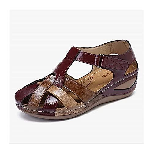 X/L Sandalias de moda para mujer, redondas, informales, cómodas, al aire libre, sandalias con soporte de arco, plantilla de esterilla de yoga, zapatos de agua ligeros (color: 02, tamaño: 41)