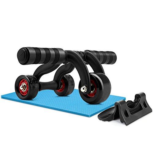 Amzdeal Ab Roller attrezzo per addominali a 3ruote, con freno e tappetino per ginocchia, nero