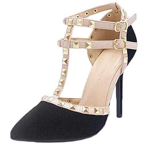 f8f4676a822 Wild Diva Womens Pointy Toe Gold Stud Strappy Ankle T-Strap Stiletto Heel  Pump Sandal
