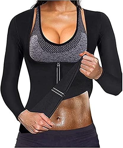 SKYWPOJU Señoras Sauna Chaleco Chaleco de Entrenamiento corsé Entrenamiento Cintura corsé Camisa de Neopreno Top Fitness Cintura corsé para Entrenamiento Deportivo (Color : Black, Size : L)