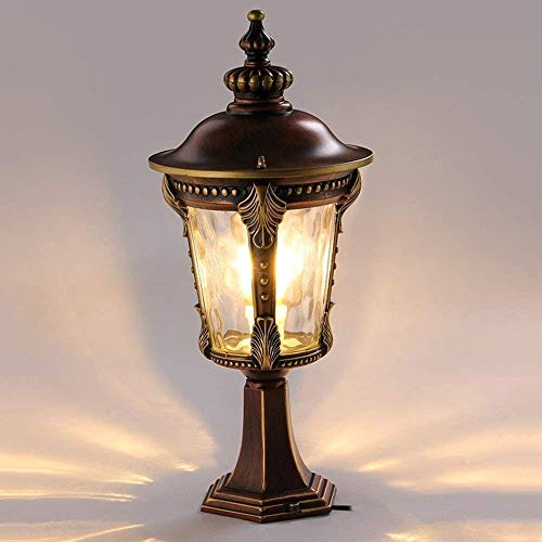 RTRY Lámpara de Pared Impermeable al Aire Libre lámpara de Pared lámpara de jardín Paisaje Europeo lámpara de Columna de Aluminio Linterna Luz Exterior del Porche (Color : White Light)