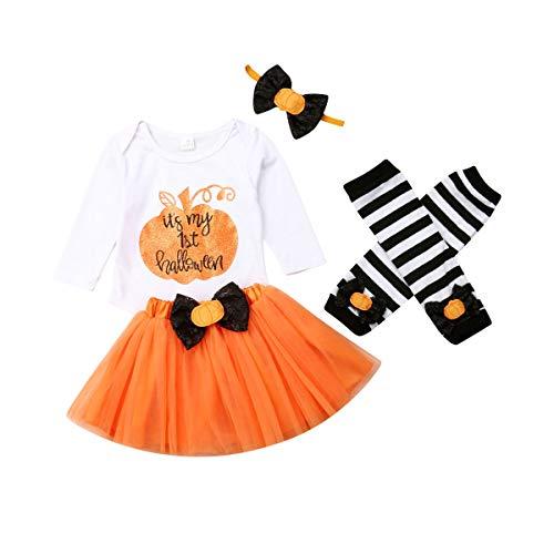 Qinngsha Bebé recién nacido Niñas Mi Primer Halloween Calabaza Navidad Trajes Tutú Princesa Mameluco Maching con diadema