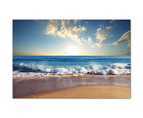 120x80cm - Urlaub zu Hause! Strand mit Wellen und Sonne! Meer zum genießen! - Bild auf Keilrahmen modern stilvoll - Bilder und Dekoration