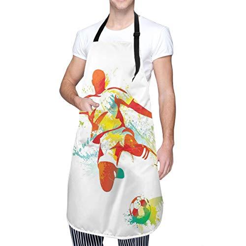COFEIYISI Delantal de Cocina Jugador de fútbol patea la pelota Competencias Pintura Salpica Botas de velocidad Delantal Chefs Cocina para Cocinar/Hornear