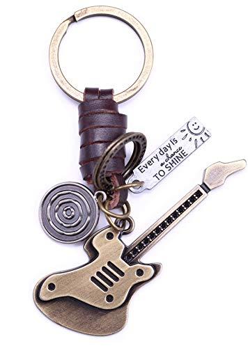 AuPra, portachiavi in pelle con chitarra elettrica per migliore amica, idea regalo per donne e uomini