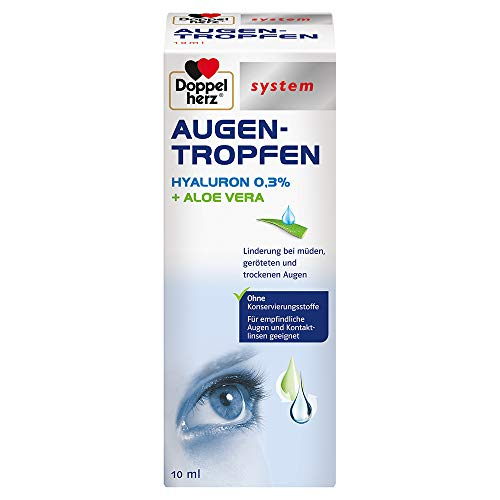 Doppelherz system AUGEN-TROPFEN HYALURON 0,3% + ALOE VERA – Linderung bei müden, geröteten und trockenen Augen – 10 ml sterile Lösung