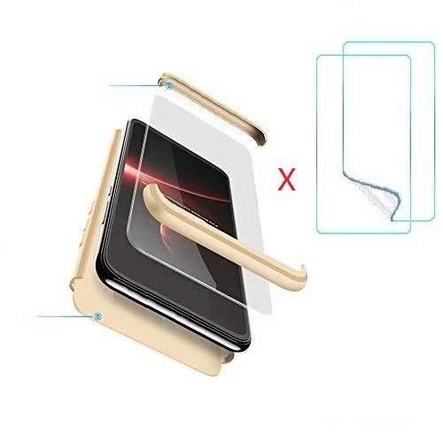 hyujia Compatibile con OnePlus 5 Cover(Oro) 360° Ultra Sottile Silicone Rigida Custodie,3 in 1 Antiurto Cellulari Protettiva Cover e 2× Protezione dello Schermo di Vetro Temperato