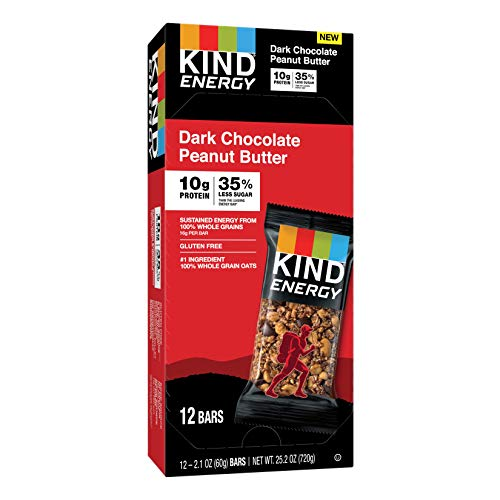 KIND Energy Bar, Gluten Free, Low Sugar, 2.1 Oz, Dark Chocolate Peanut Butter 12 Count