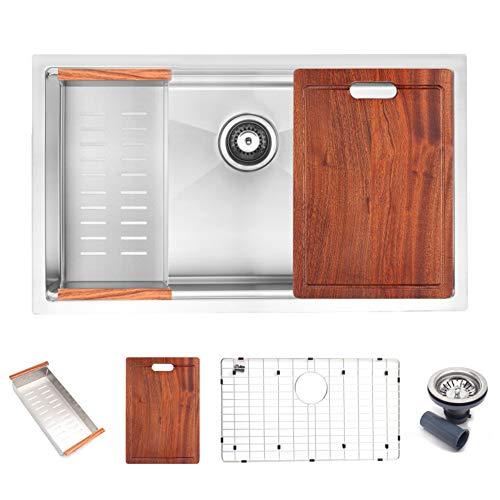Lowest Price! Koozzo 32 Inch Rectangular Workstation Sink, SUS304 + 16 Gauge Stainless Steel, Includ...