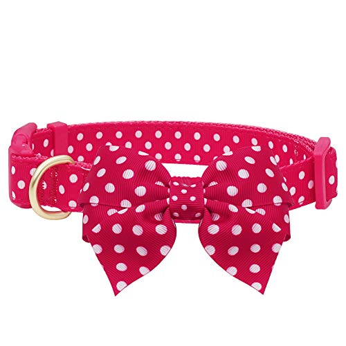 azuza Bowtie Dog Collar, Soft & Comfortable Dog Collars with Bow, Adjustable Collars for Extra Small Dogs