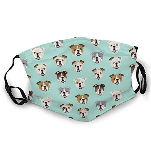 Verstellbarer Mundschutz Englische Bulldogge Lustiger Hund Kopf Anti-Staub Erwachsene Wiederverwendbar Halbgesicht für Männer Frauen