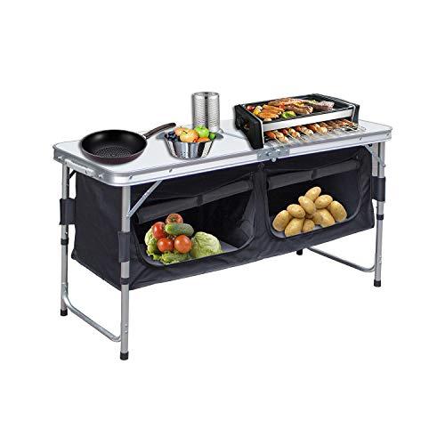 Hengda Campingschrank Schrank klappbare Campingküche Kofferschrank mit Faltmechanismus,ca. (L) 120 cm x (B) 47 cm x (H) 68 cm,Outdoor Klappbox Küchenbox Ink. Tragetasche