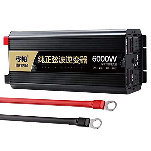 SGSG 3000W / 6000W Inversor de Corriente DC 12V a 230V 240V AC Transformador Convertidor 12V con Puertos USB Dobles y enchufes del Reino Unido Cargador Adaptador de Encendedor, 24V