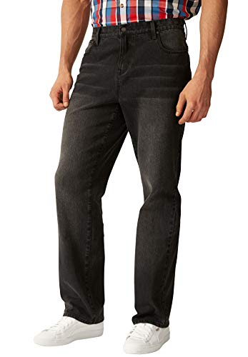 Liberty Blues Men's Big & Tall Loose Fit 5-Pocket Stretch Jeans - Big - 72 38, Black Denim