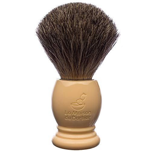 La Maison du Barbier Blaireau Ivoire - Poils Pur Gris Taille 12-100% Fabriqué en France