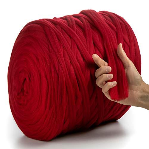 MeriWoolArt 100% lana de merino para punto y ganchillo con hilo de 2 cm de grosor, lana de merino gruesa para bufanda, manta y almohada XXL (rojo, 100 g)
