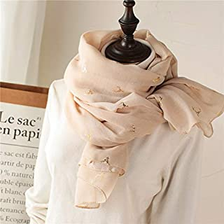 Winter Long Scarf Spring and Autumn Deer Gilded Cotton and Linen Scarf Female Winter Wild Warm Silk Scarf Shawl (Color : Red) Winter Soft Scarf (Color : Beige)