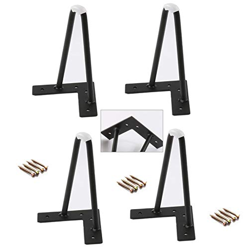 YLL Set of 4 Generic Furniture Legs Diamond Triangle Heavy Duty Steel Angled Modern Sofa Leg Iron Metal Feet for Furniture Couch,Sofa Coffee Table Tv Cabinet,Black,12cm/5in