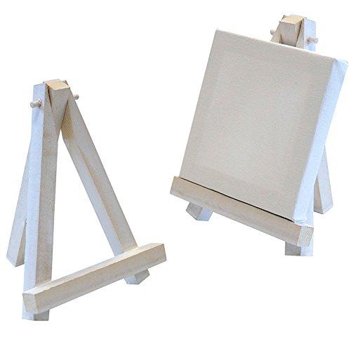 Artina Mini-Staffelei (11x9 cm) - 10er Set - Weiß (Used Look) - inkl. Keilrahmen (8x8 cm) - Tischdeko für Hochzeiten