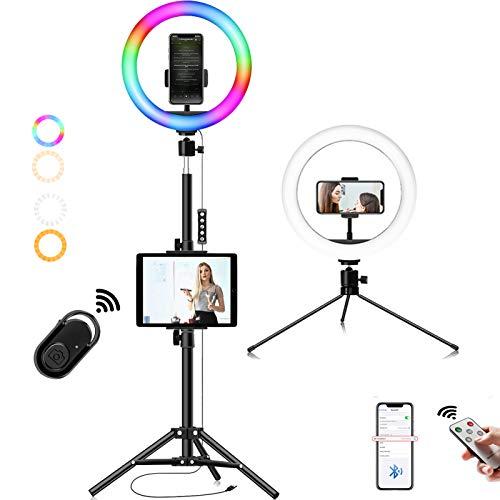 10' luz de Anillo Led con Trípode,3 Colores 40 Brillos Regulables Control Remoto Aro de Luz Maquillaje LED Luz de Relleno para Movil Selfie, TIK Tok, Youtube,Vivo,Belleza Y Fotografía de Moda…