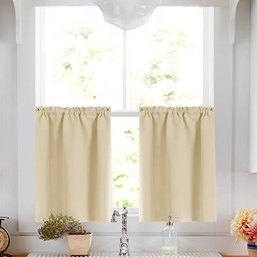 Lazzzy Window Room Darkening Thermal Insulated Tier Curtains - Functional Window Treatment Drapes Tier Curtain and Valance for Kitchen Home Decor Beige 2 Panels 34W by 36L Inches