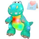 Houwsbaby LED Glowing Night Light Dinosaur Stuffed Animal Soft Kawaii Plush Toy Hugging Gifts for Kids Boys Girls Decoration Holiday Birthday Present,13'' ,Green