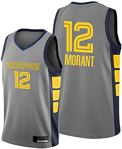 XUECHEN Ropa Jersey de Baloncesto para Hombres - NBA Memphis Grizzlies # 12 Morant Jerseys, Ropa Deportiva, Camisetas de Malla Bordadas sin Mangas Unisex, Gris, m (170~175 cm)