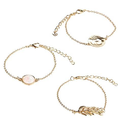 3 piezas vintage cadena de oro imitación ópalo piedra hojas discos redondos encanto pulsera colgantes para la fabricación de joyas