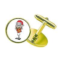 バステトのクリスマスギフト蝶結びの帽子 スタッズビジネスシャツメタルカフリンクスゴールド
