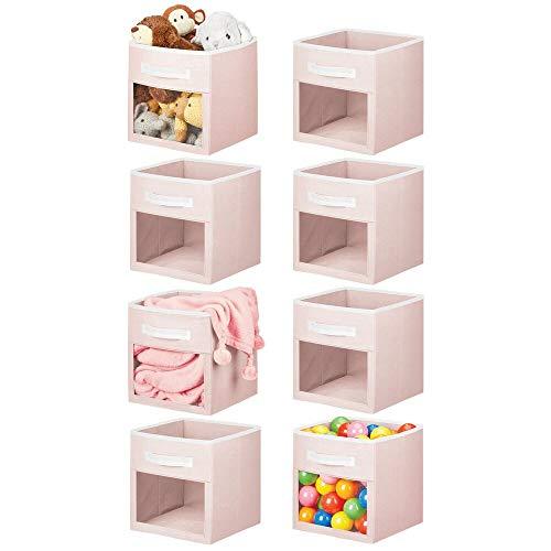 mDesign - Caja organizadora de almacenamiento de tela suave, ventana transparente y asa, para habitación de niños/niños, guardería, sala de juegos, muebles, estantería, 8 unidades, color rosa claro/blanco