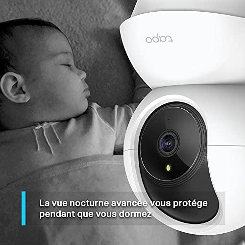 TP-Link Tapo Caméra Surveillance WiFi (Tapo C200), camera ip 1080P avec Vision Nocturne Détection de Mouvement, Caméra Bébé avec Audio Bidirectionnel Pan/Tilt