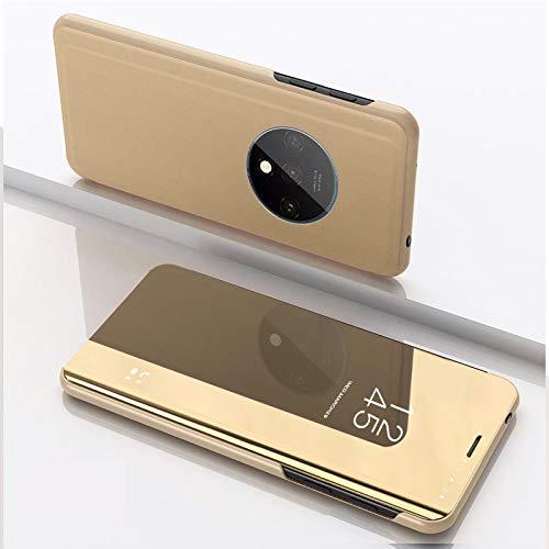 SWMGO® Specchio Placcatura Flip Custodia per OnePlus 7T (Oro)