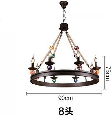 LKJH Lámpara De Cuerda De Hierro,Ronda Isla Iluminación Fixure Plafón Para Sala De Billar De Salón Restaurante-B ...