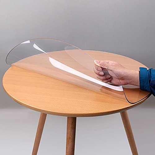 DTDMY Protector Redondo Transparente para Cubierta de Escritorio, Protector de Mantel de PVC Transparente, Protector de Mesa de plástico, Almohadillas de Mesa Impermeables y Lavables para Comedor