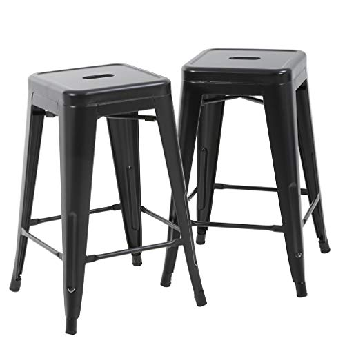 """FDW Bar Stools Counter Stool Barstools Set of 2 Industrial Metal Bar Stools Patio Furniture Modern Backless 24"""" Stackable Metal Indoor/Outdoor Bar Stools Kitchen Counter Stools Chairs"""