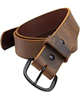 Bootlegger Leather Belt | Made in USA | Brown with Black Buckle - 38